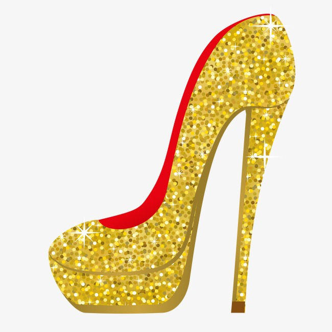 Heels clipart gold glitter crown. Vector high golden heeled