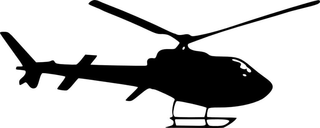 Helicopter silhouette png. Side view transparent