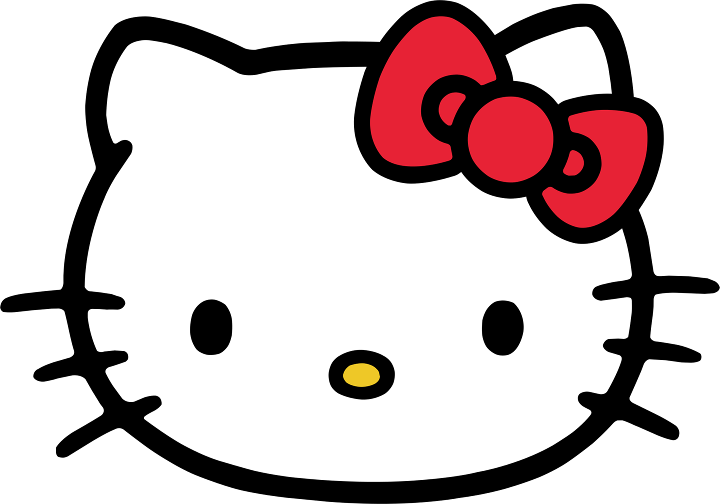 Kitty transparent flower. Hello face png image