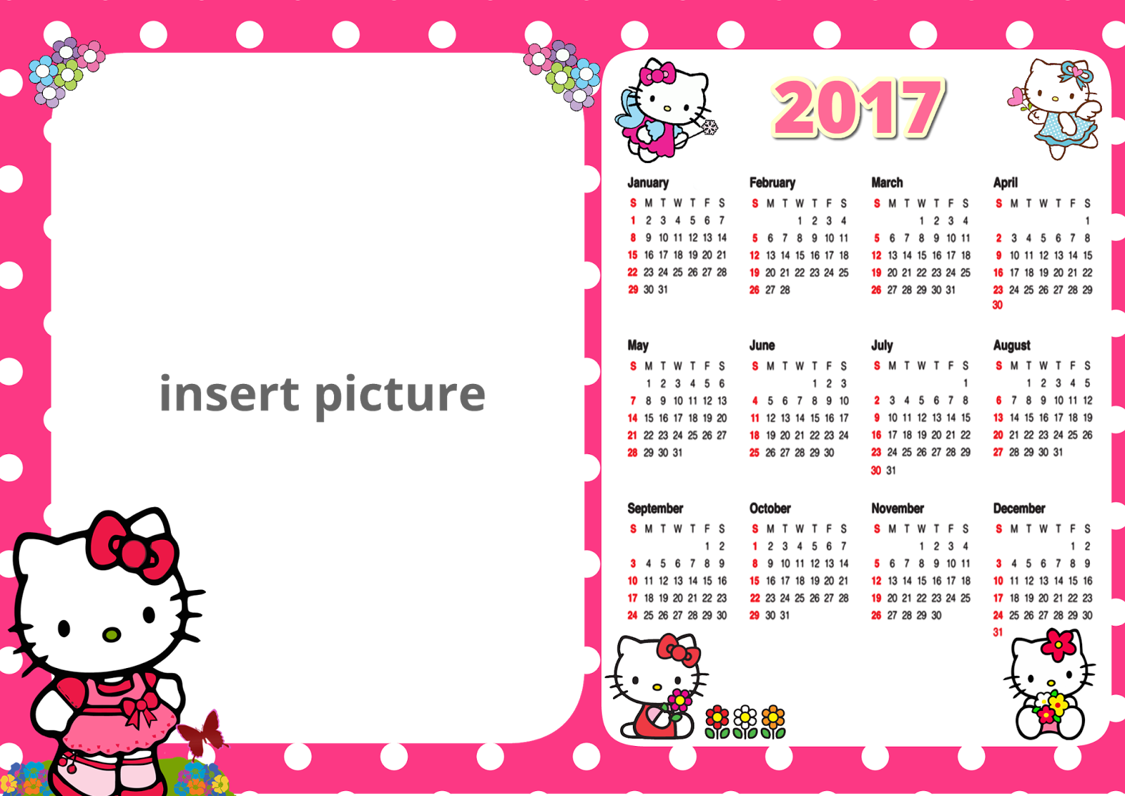 Hello kitty frame png. Calendar printable frames cartoon