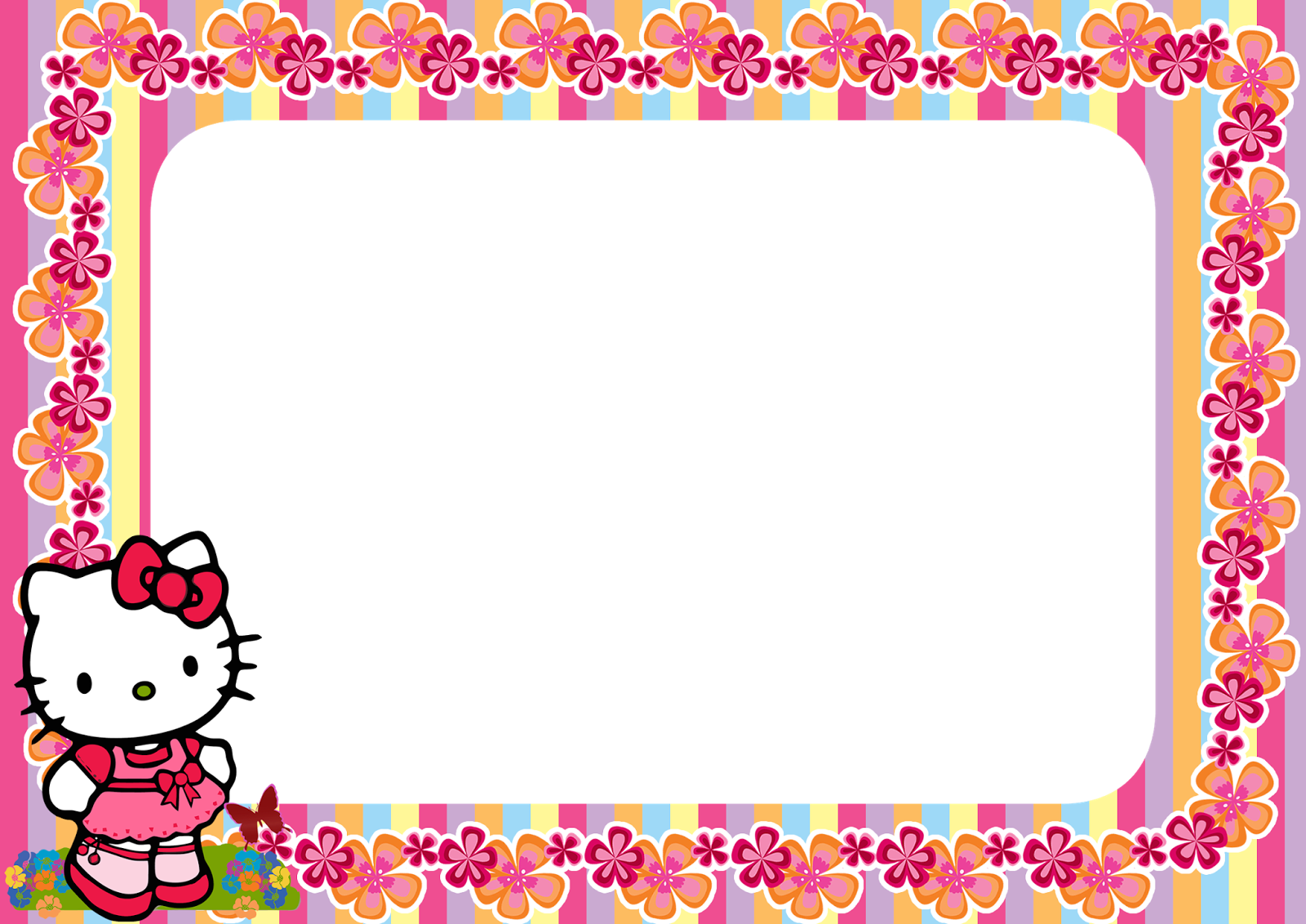 Hello kitty frame png. Floral stripe printable frames