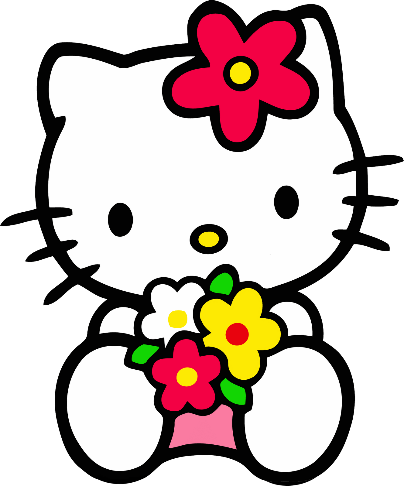 Hello kitty head png. Sitting with flowers transparent