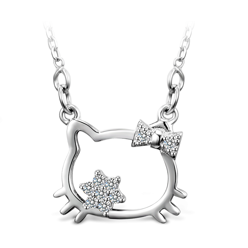 Hello kitty necklace png. Silver vironna