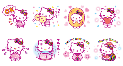 Hello transparent sticker. Line stickers kitty limited