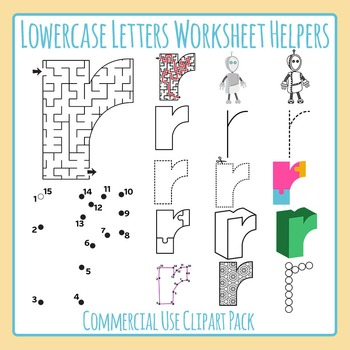 Helper robot maze. Letter r lowercase worksheet