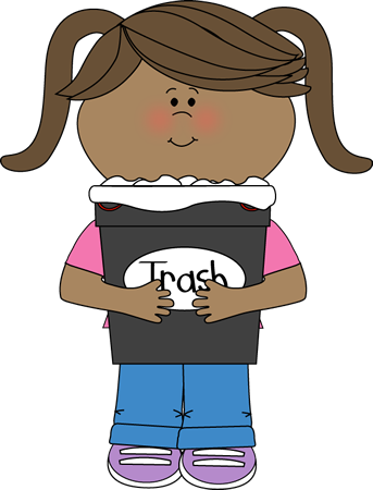 Garbage clipart sweeping. Girl classroom trash helper
