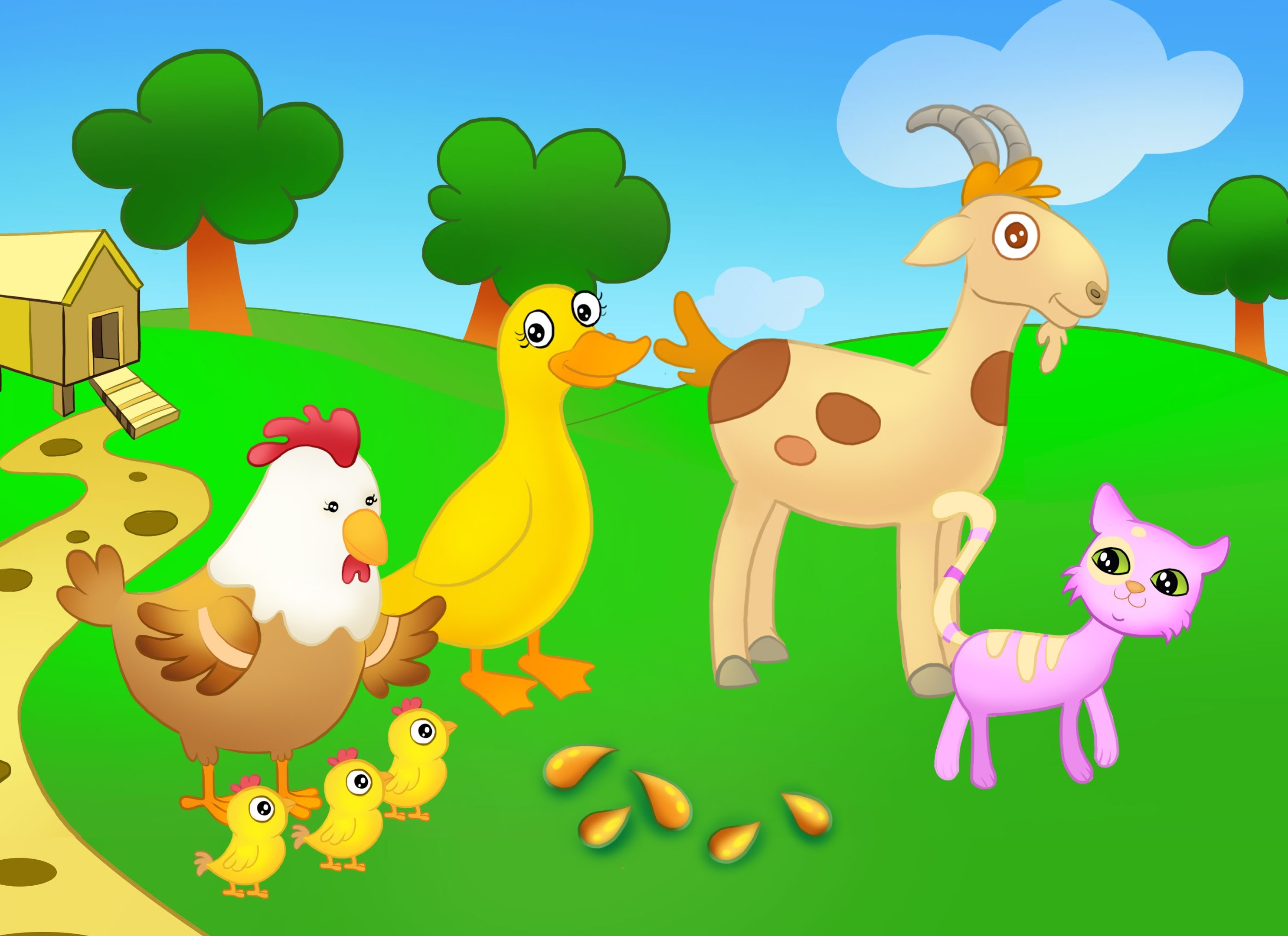 Hen clipart short animal. Mother and the wheat