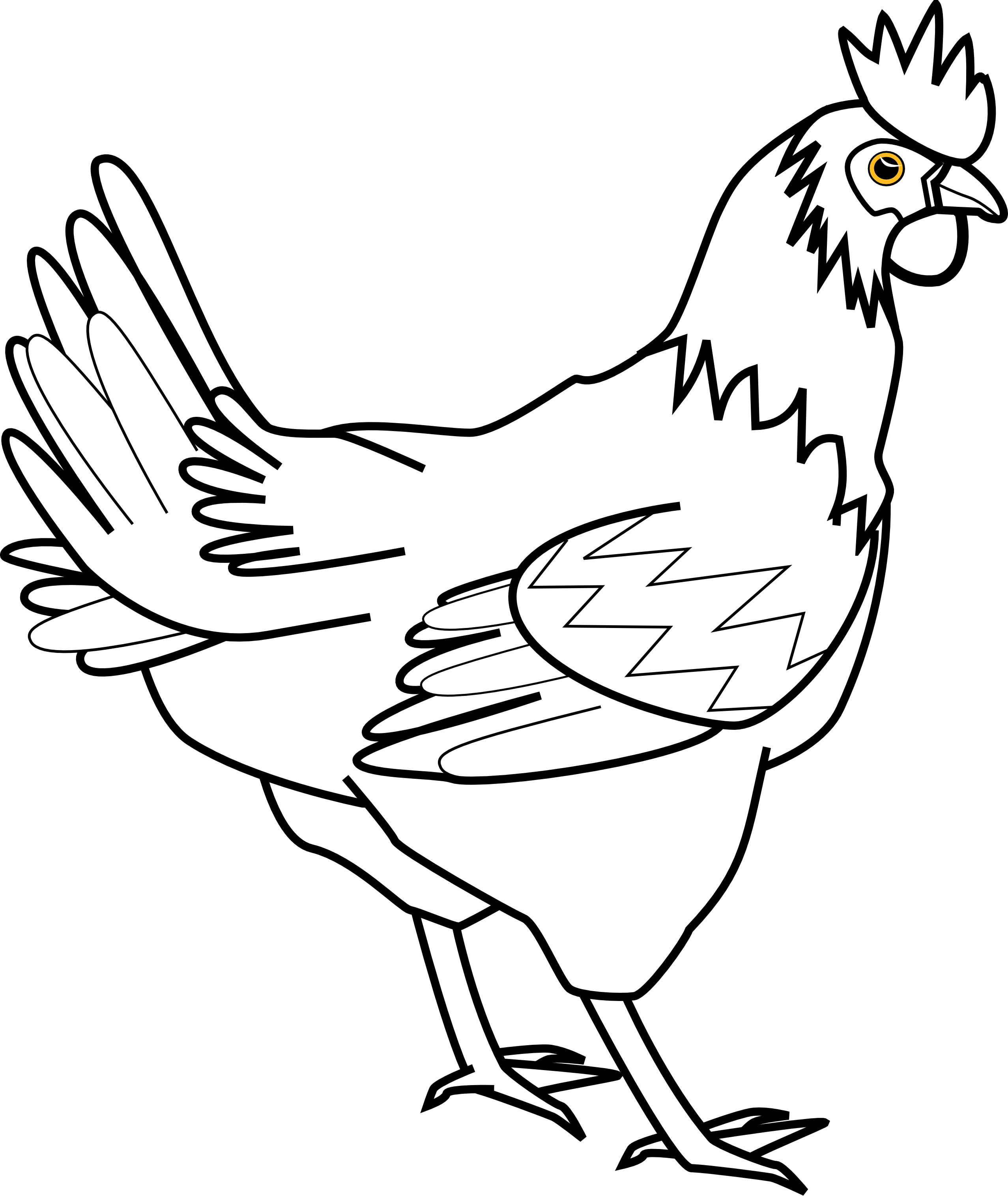 Hen vector black and white. Collection of free clucking