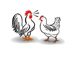 Hen vector cartoon. Collection of free clucking
