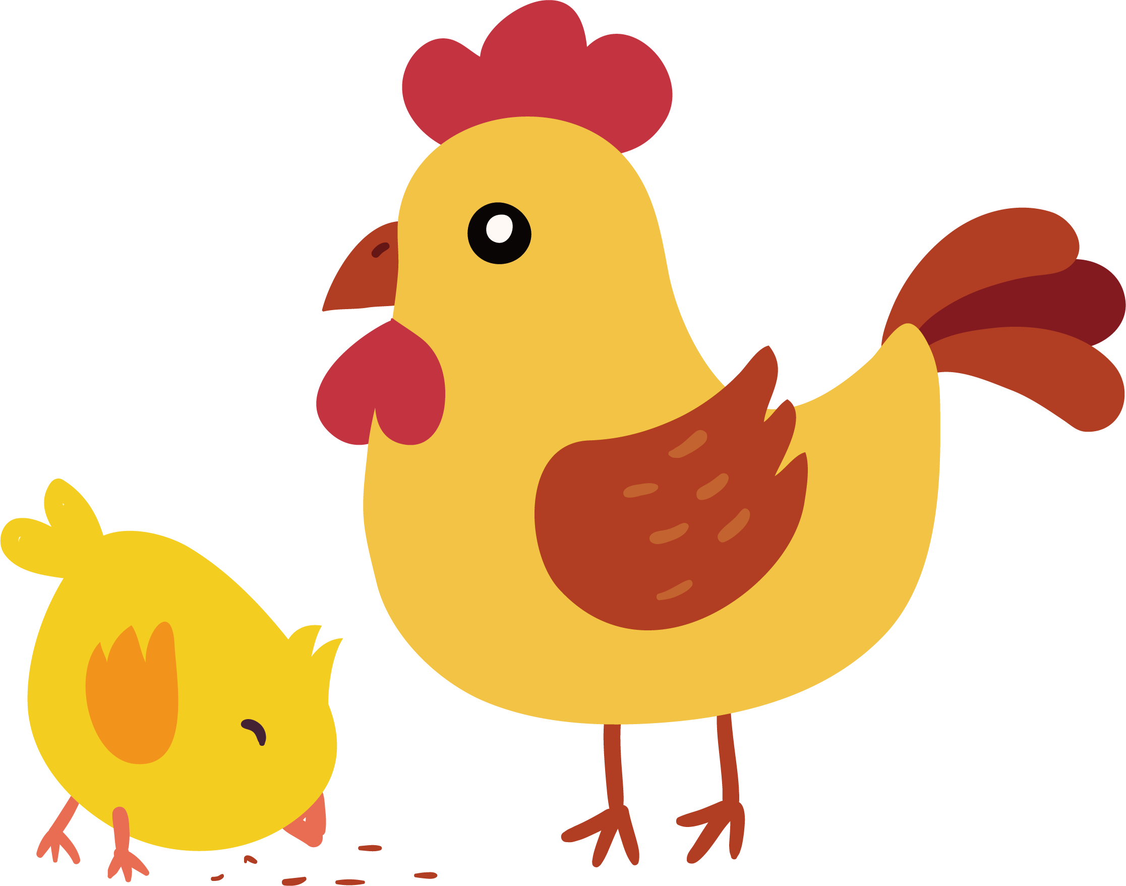Hen vector cute. Yellow hair chicken little