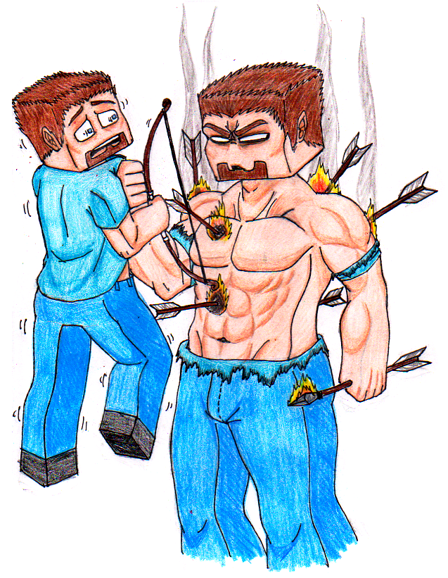 Herobrine drawing. And fire arrows by
