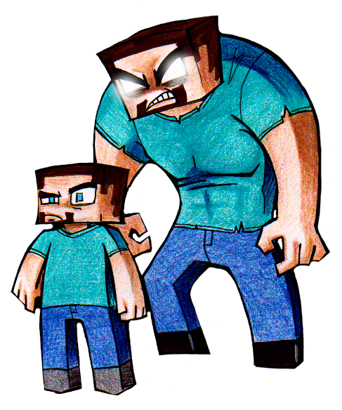 Herobrine drawing steve. And by cageyshick on