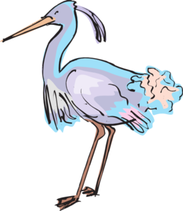 Heron vector clipart. Purple and blue clip