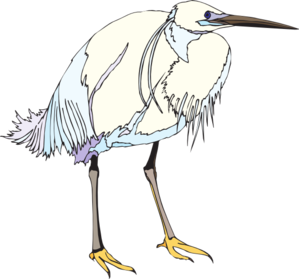 Heron vector. White and blue clip