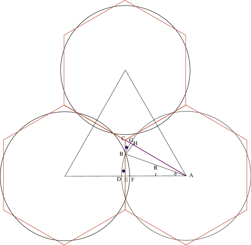 Hexagon drawing equal. Area of a small
