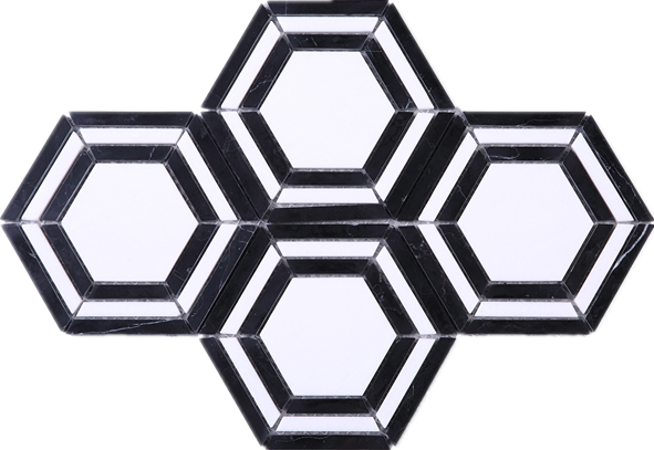 Hexagon png pattern. Black and white stone