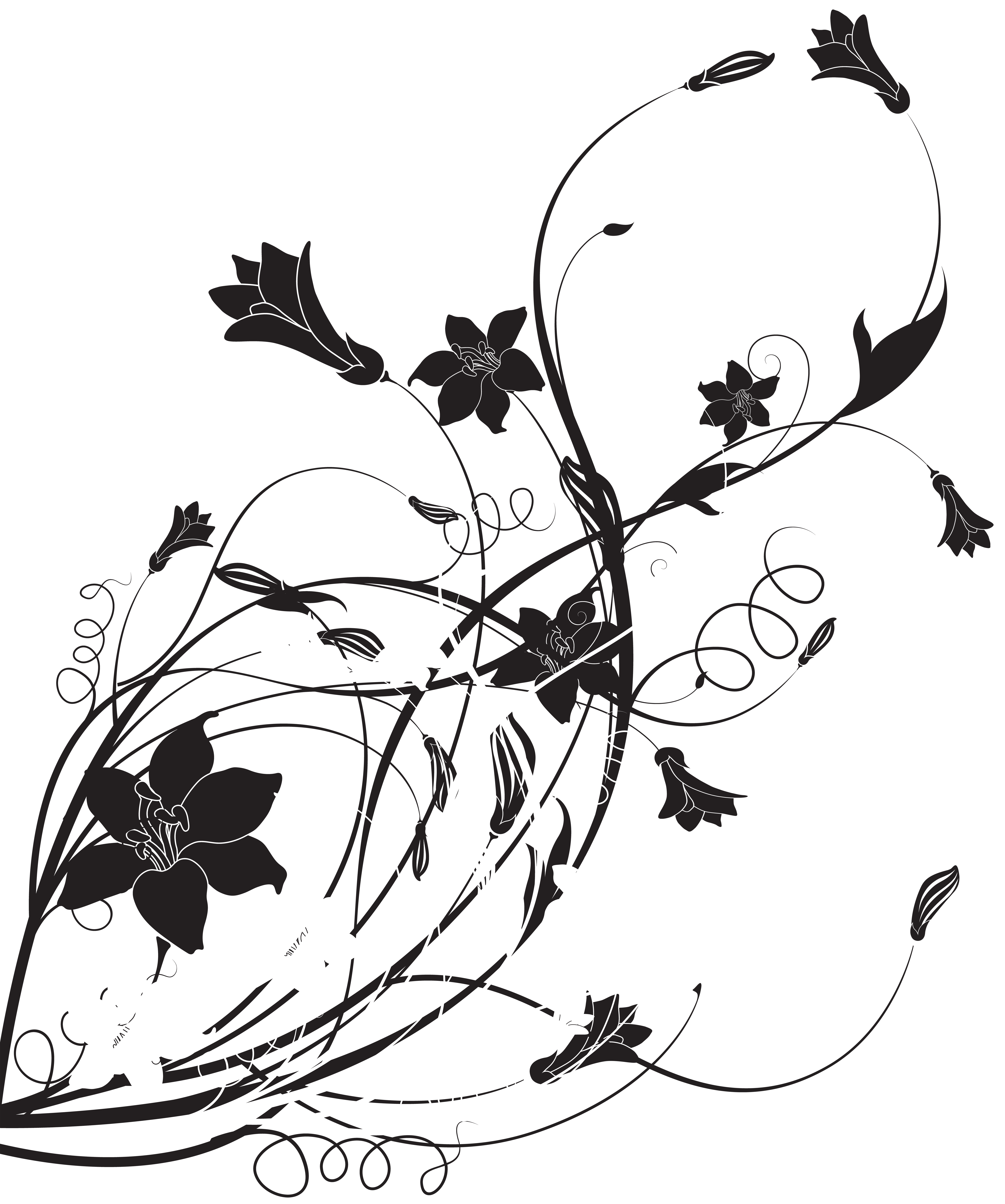 High clipart black and white. Floral decoration png clip