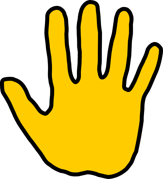High five clipart yellow hand.