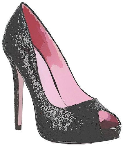 High heel clipart pretty shoe. Glittery sparkly black womans