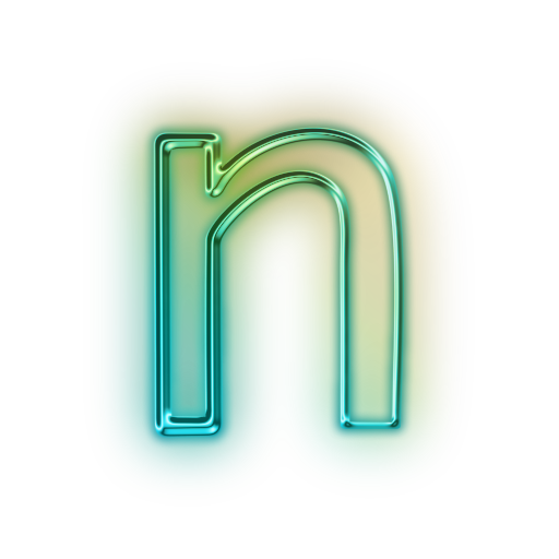 High resolution neon lights alphabet png. Vector letter n icon