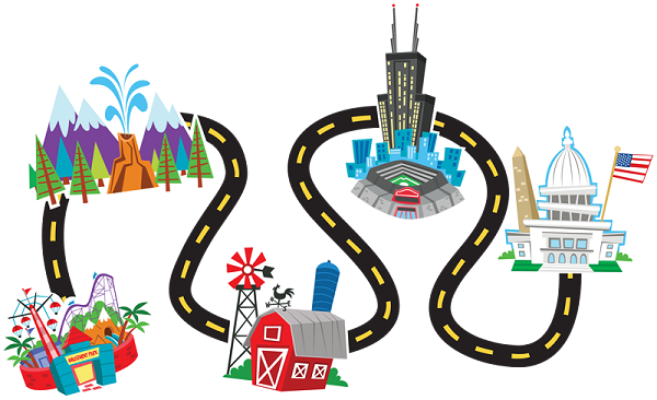 Free road download clip. Trip clipart beach holiday banner black and white stock