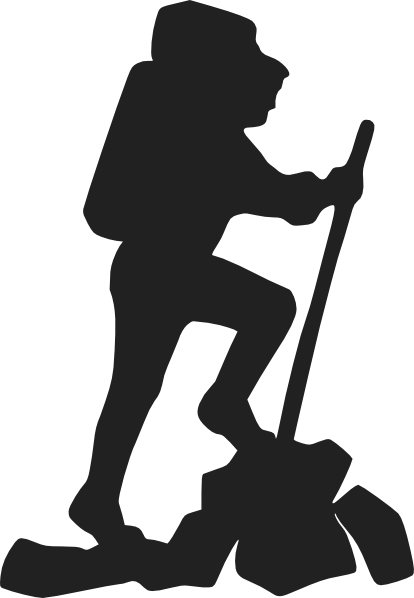 Mountain hiking clip art. Hiker clipart svg black and white