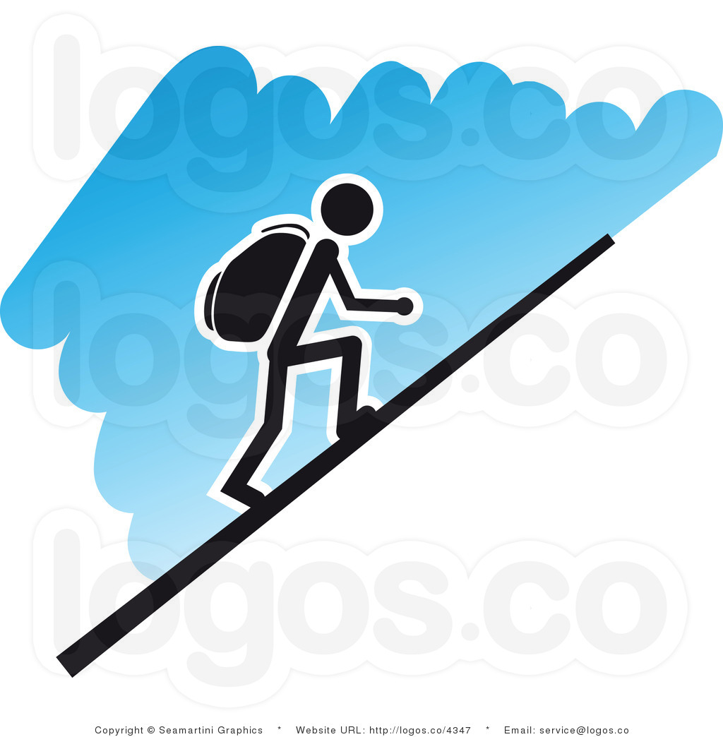 Hiker clipart steep mountain. This hiking stock logo clip royalty free stock