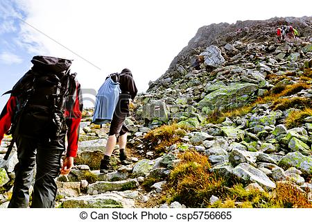 Hiking in rocky mountains. Hiker clipart steep mountain clip art royalty free stock