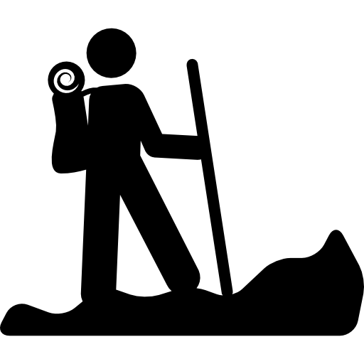 Hiker vector travel man. Hiking person silhouette with