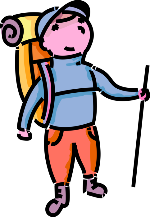 Hiker vector cartoon. Young hikes outdoors image