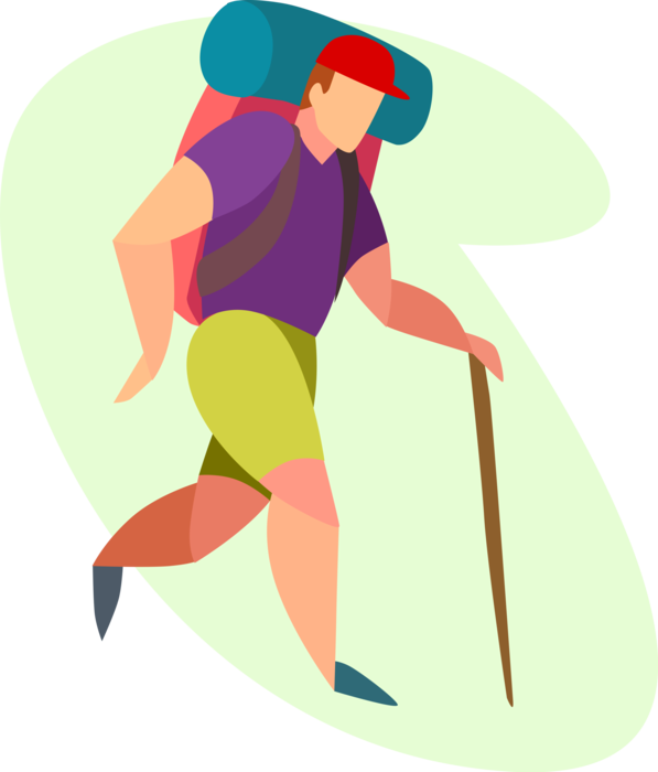 Hiker vector cartoon. Hikes trail with walking