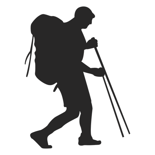 Hiker vector climber. Hiking man silhouette transparent