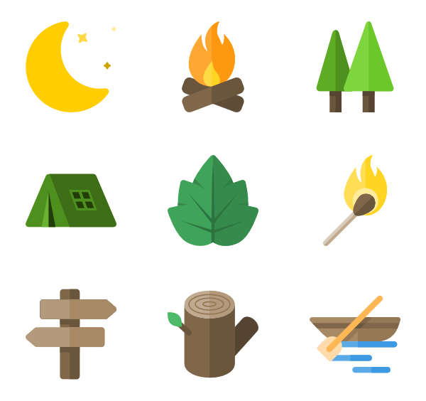 Hiker vector flat design. Hiking icons free