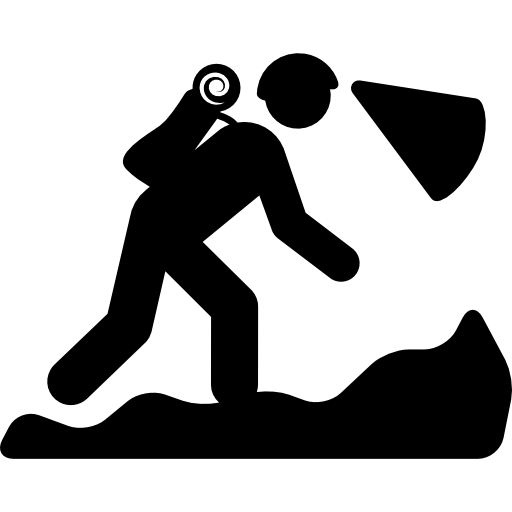 Hiker vector top mountain. Silhouette on free sports