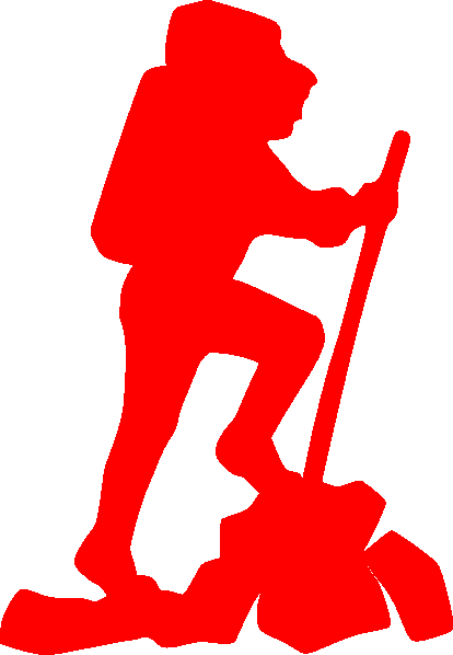 Hiker vector wanderer. Red free images at