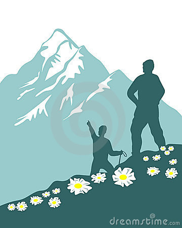 Hiking clipart rock mountain. Trekking pencil and in