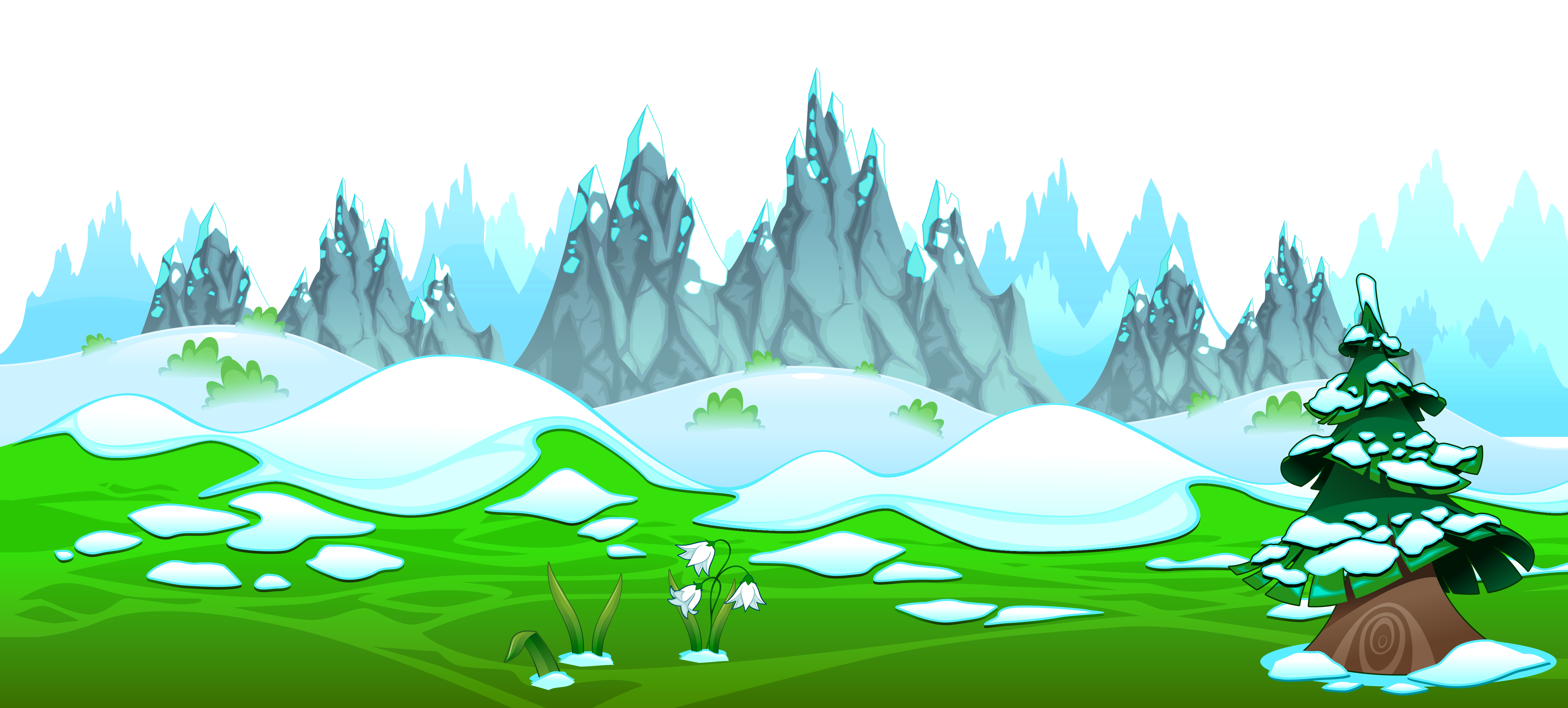 Hill clipart ground. Early spring with icy