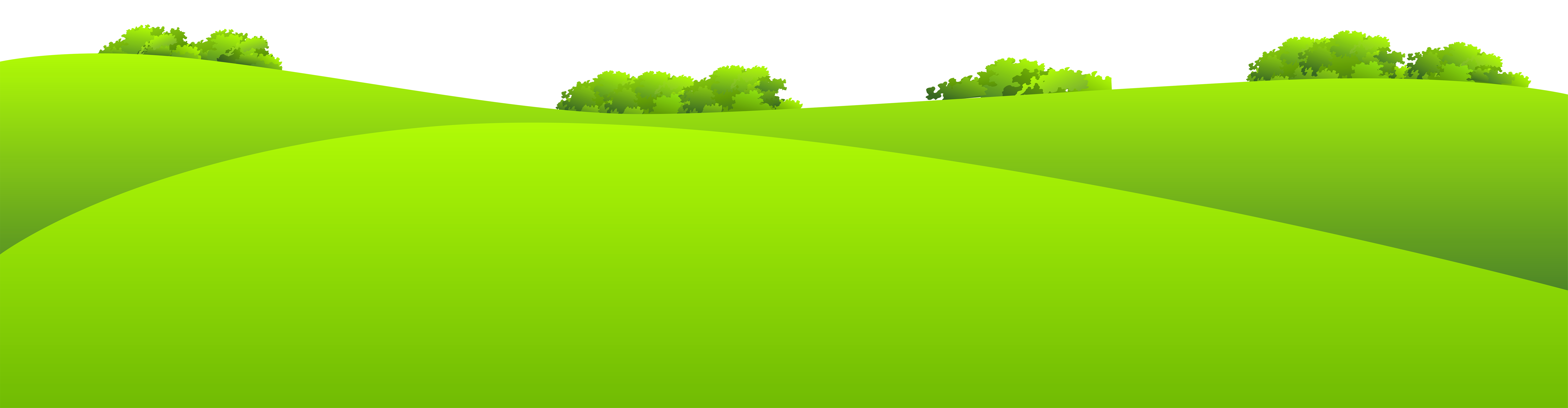 Hill clipart medow. Green meadow with shrubs