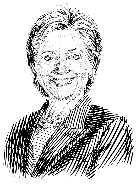 Hillary drawing black and white
