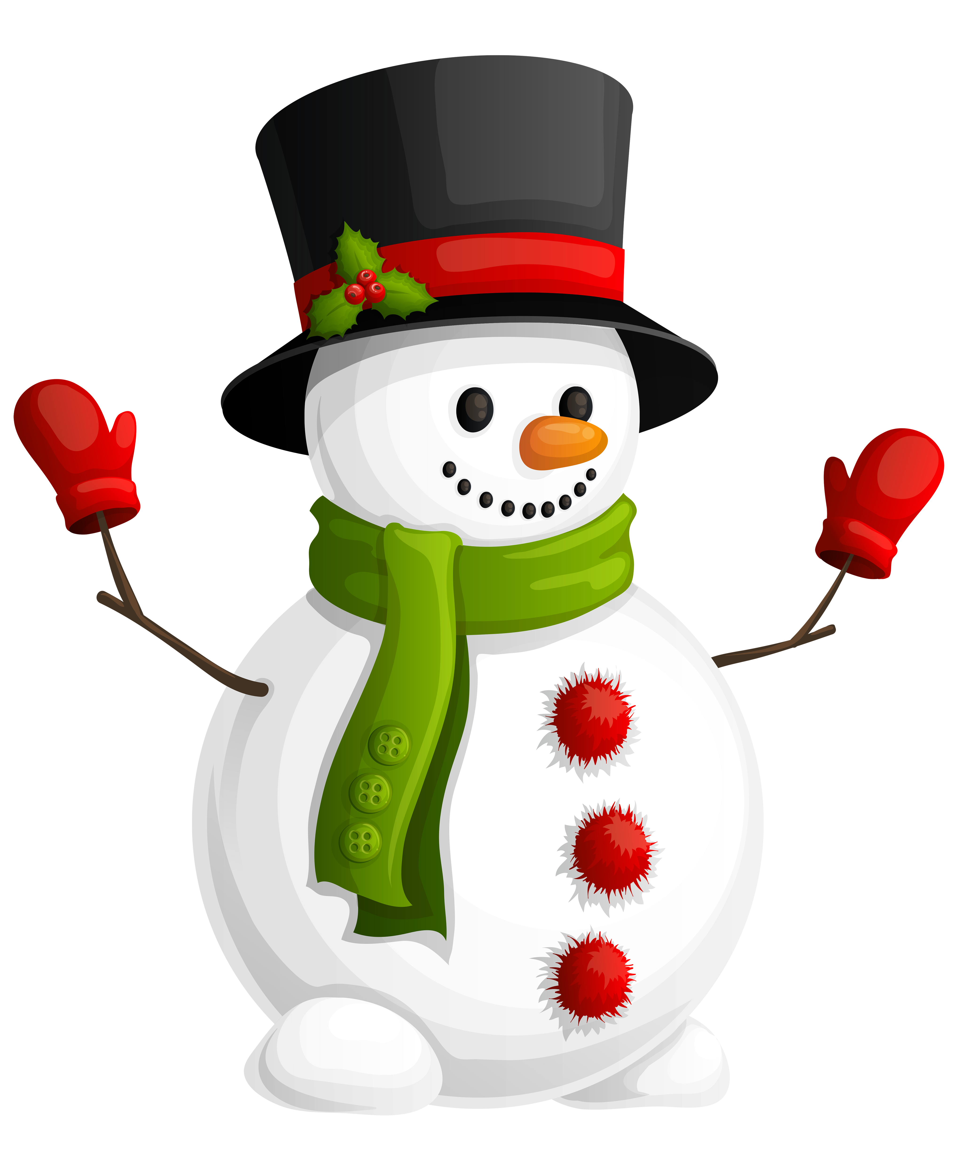 Drawing scarf christmas. Transparent snowman with green