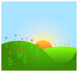 Hills clipart grass. Rising sun with
