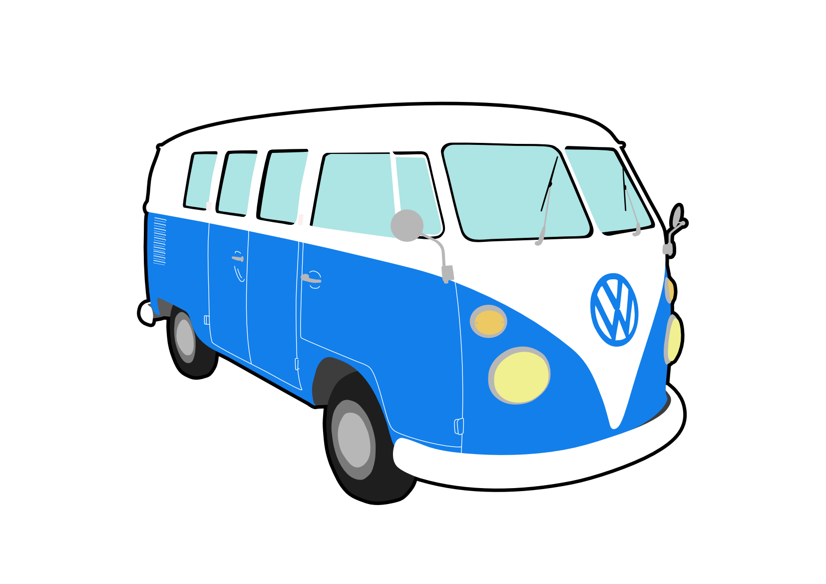 volkswagen drawing bus vw