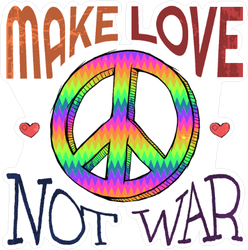 Hippie clipart make love not war. Car stickers and decals