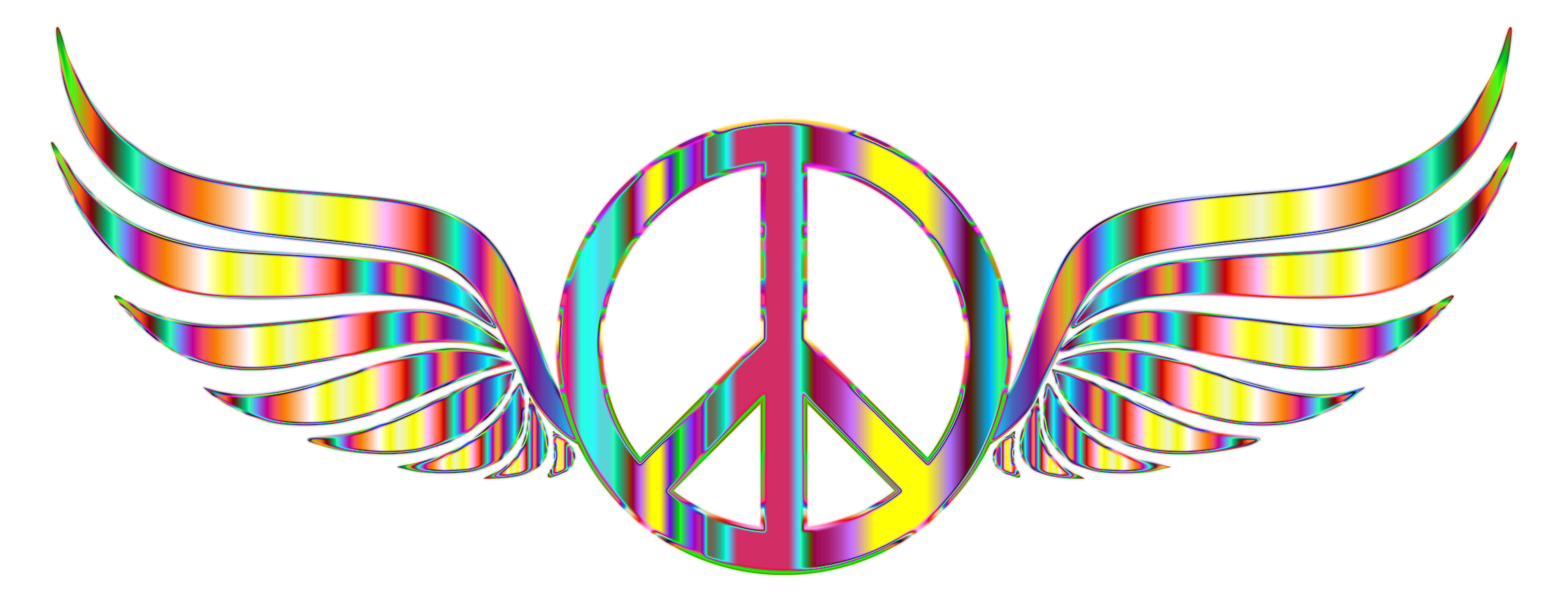 Hippie clipart transparent background peace. Gold sign wings psychedelic