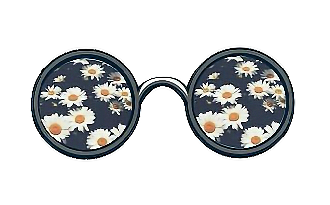 Hippie glasses png. Daisies hip sticker by