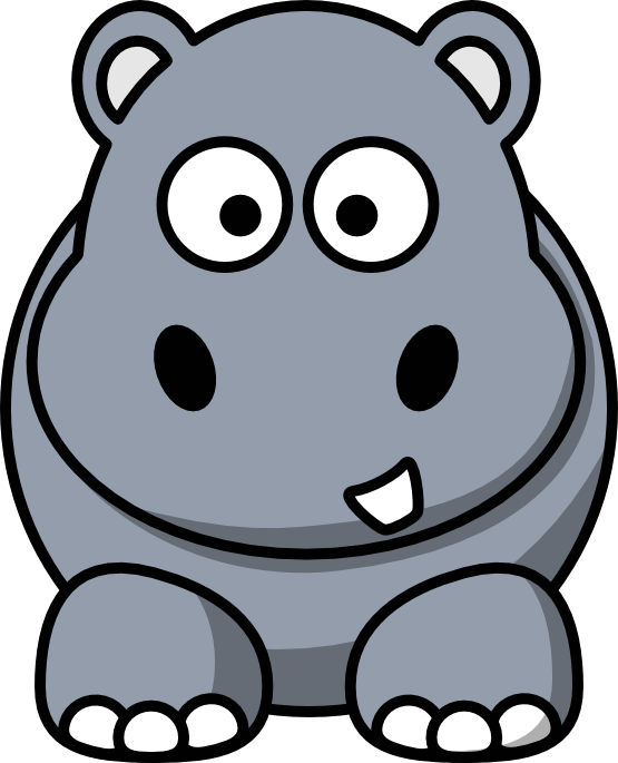 Drawing hippopotamus chibi. Cartoon hippo clipart at