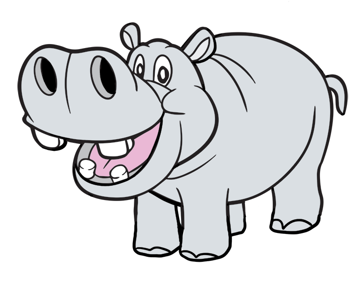 Drawing hippopotamus purple cartoon. Free hippo picture download