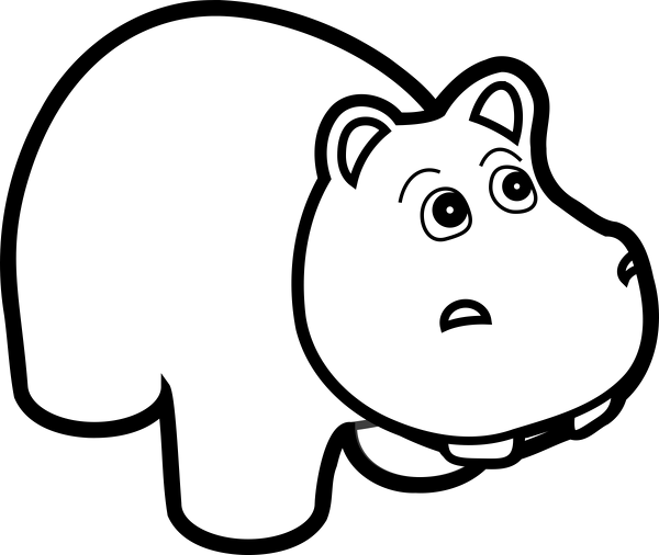 Hippo clipart coloring. Lineart
