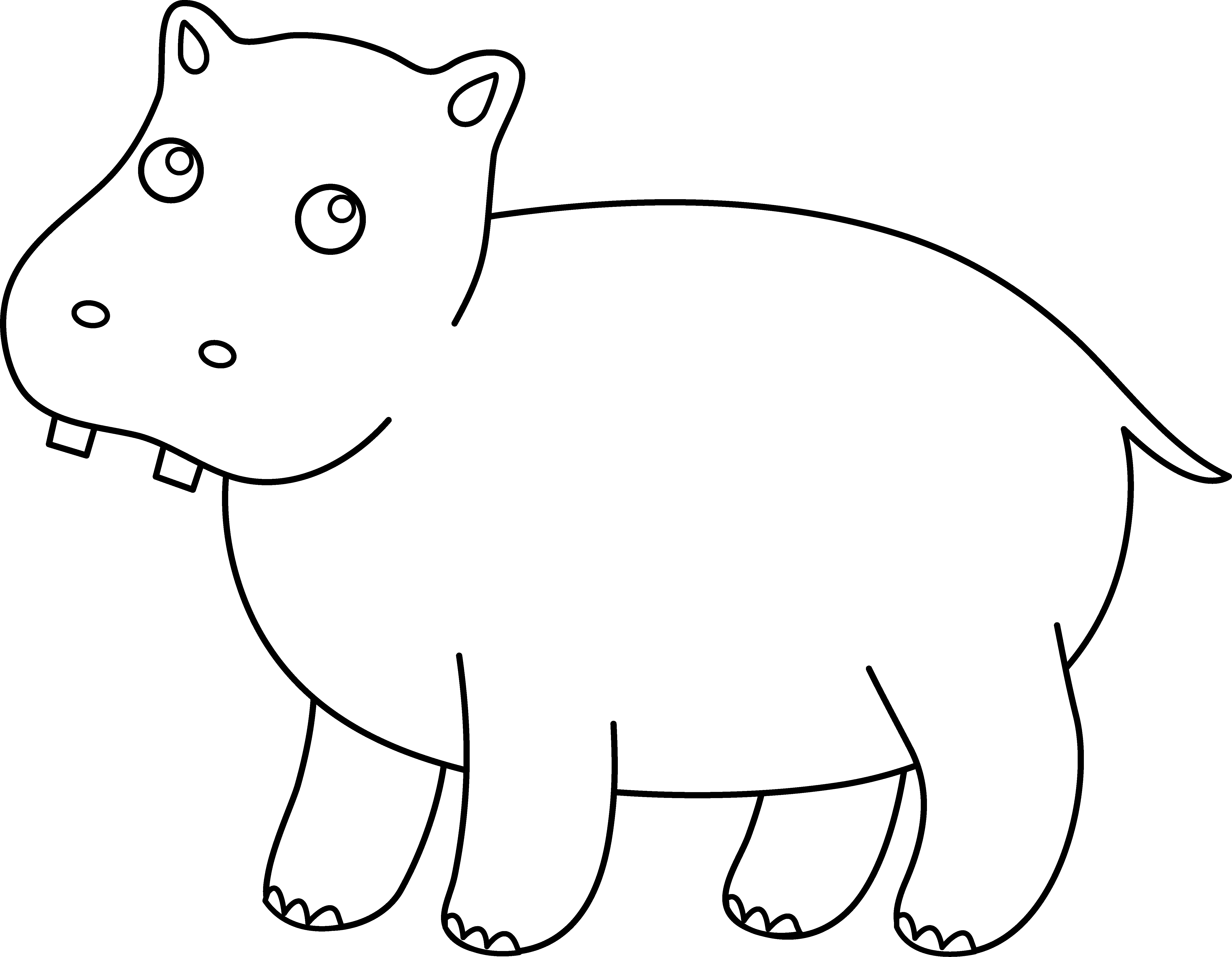 Hippo clipart coloring. Cute page free clip