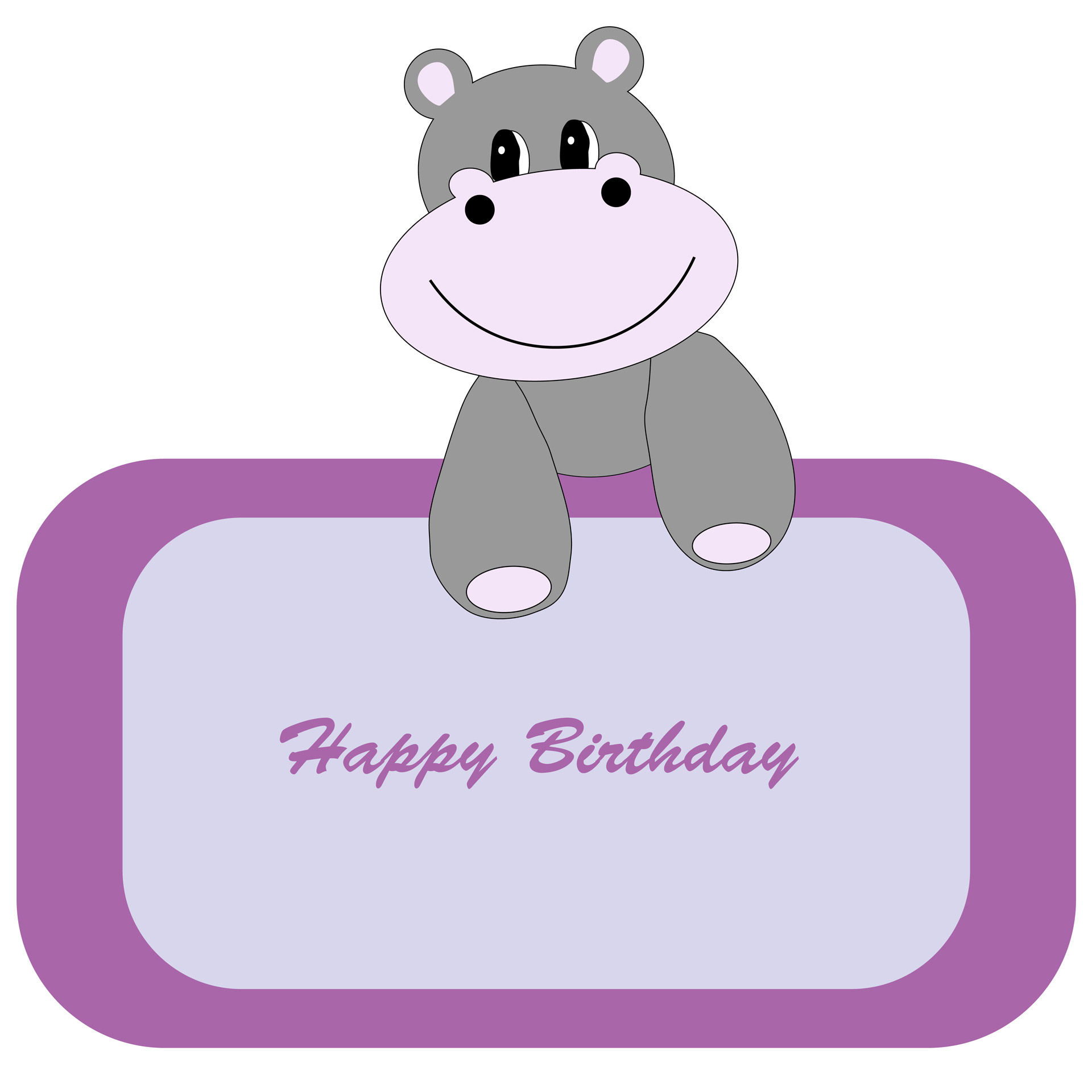 Hippopotamus clipart animated. Cute hippo birthday banner